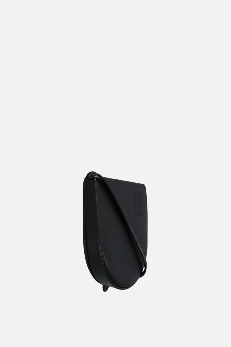 LOEWE: Heel small smooth leather strap pouch Color Black_2