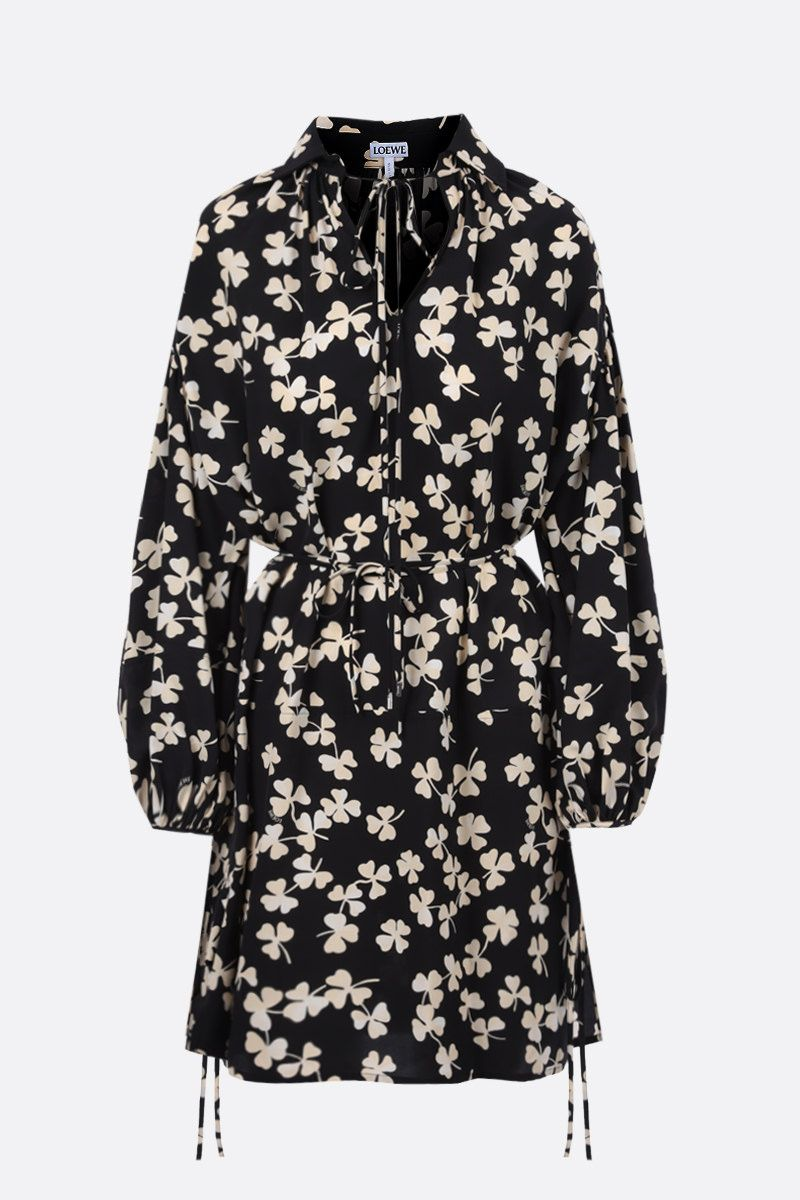 LOEWE: shamrock print crepe minidress Color Black_1