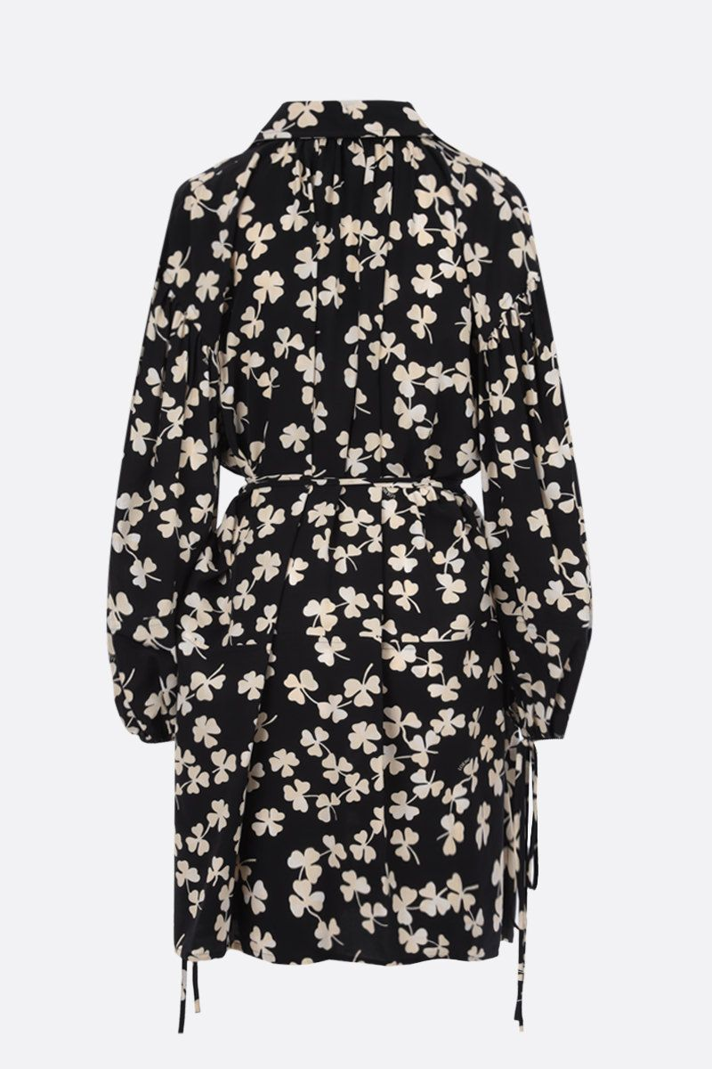 LOEWE: shamrock print crepe minidress Color Black_2
