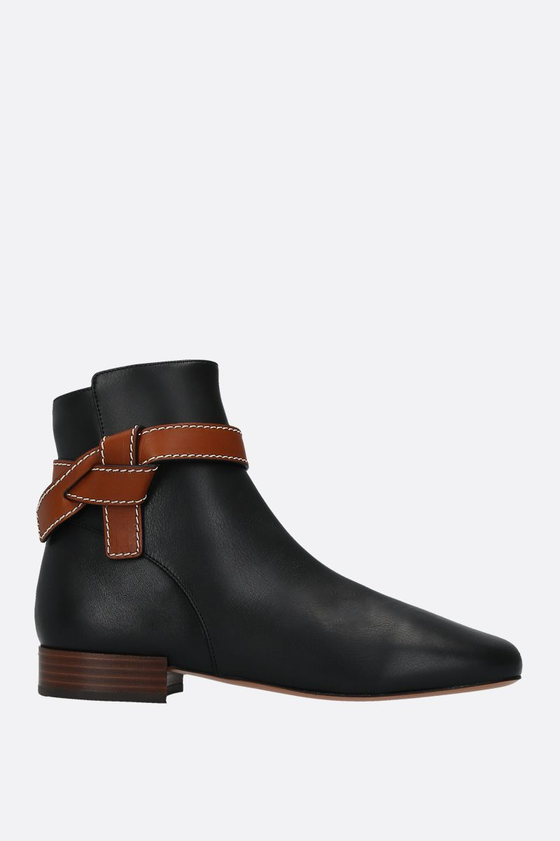 LOEWE: Gate smooth leather ankle boots Color Black_1