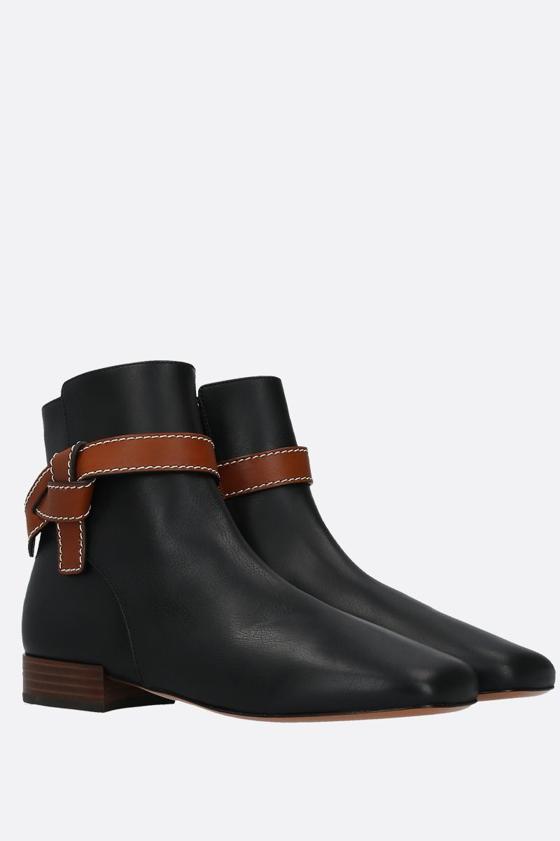 LOEWE: Gate smooth leather ankle boots Color Black_2