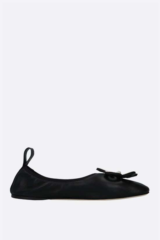LOEWE: flower brooch soft nappa ballerinas Color Black_1