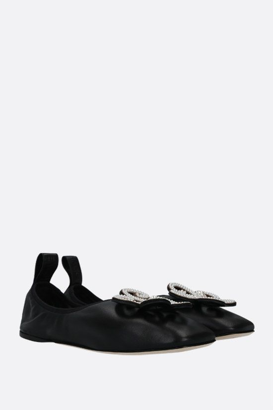 LOEWE: flower brooch soft nappa ballerinas Color Black_2