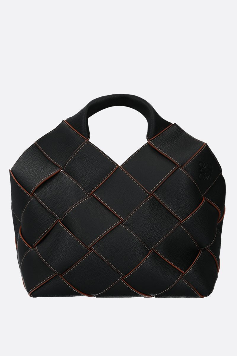 LOEWE: woven leather basket bag Color Black_1