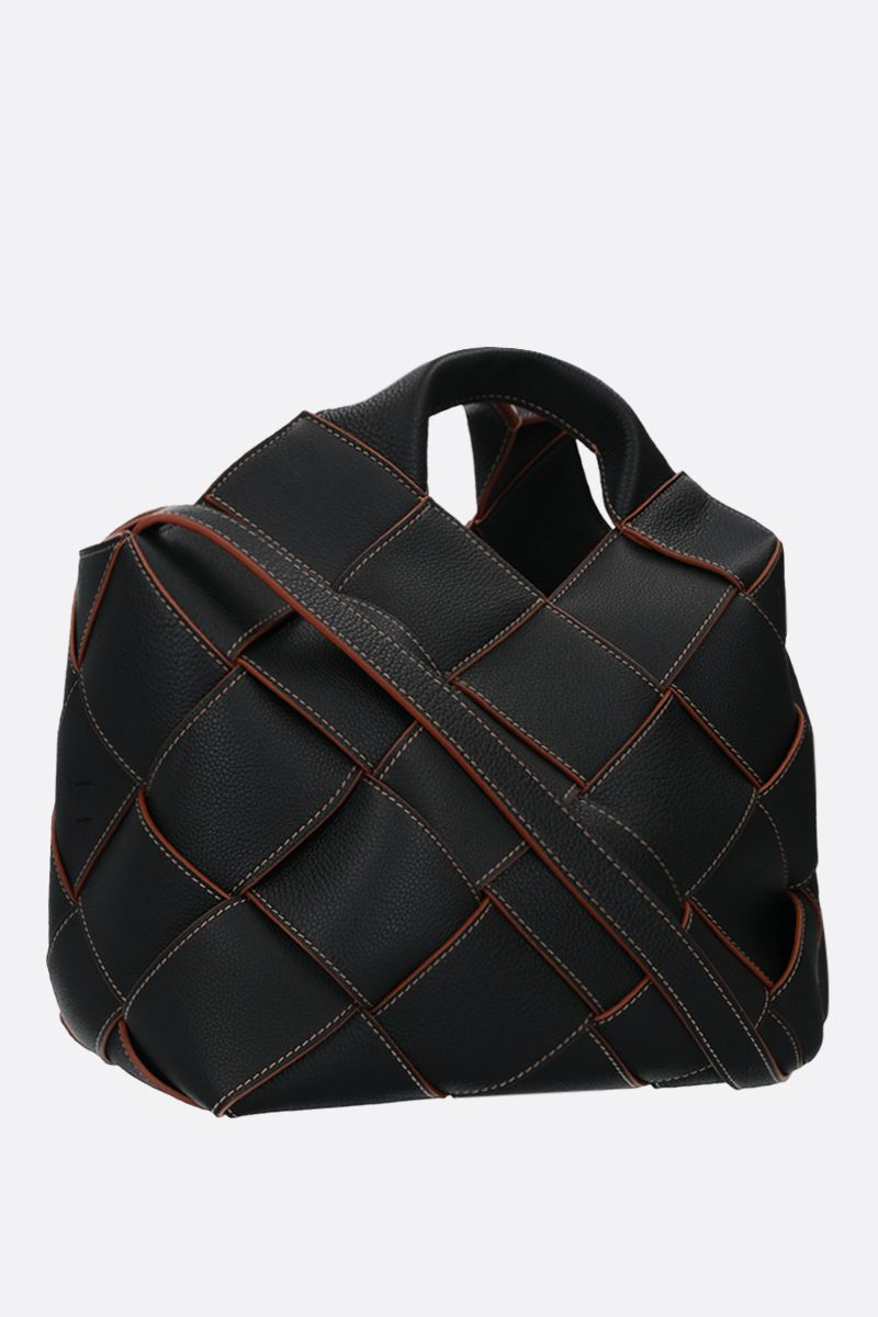 LOEWE: woven leather basket bag Color Black_2