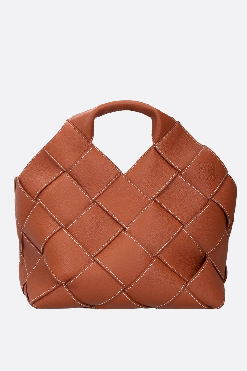 LOEWE: woven leather basket bag Color Brown_1