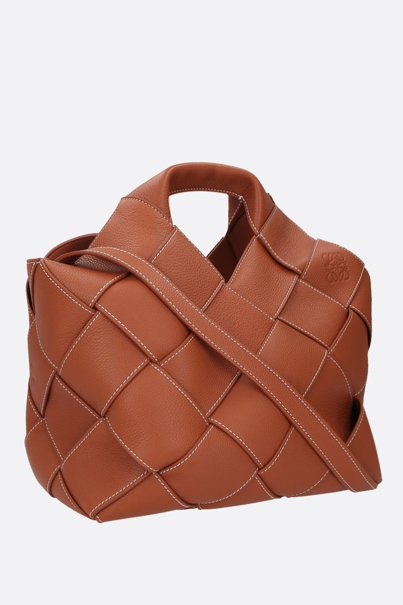LOEWE: woven leather basket bag Color Brown_2