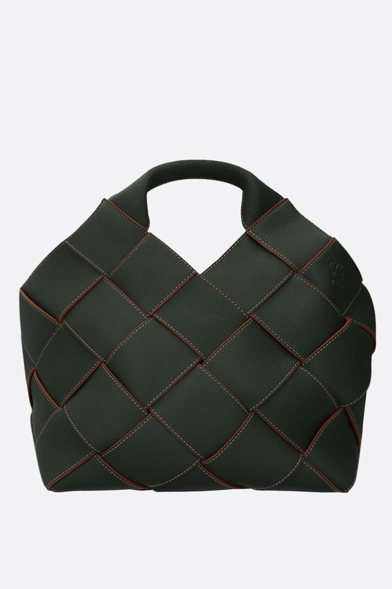 LOEWE: woven leather basket bag Color Green_1