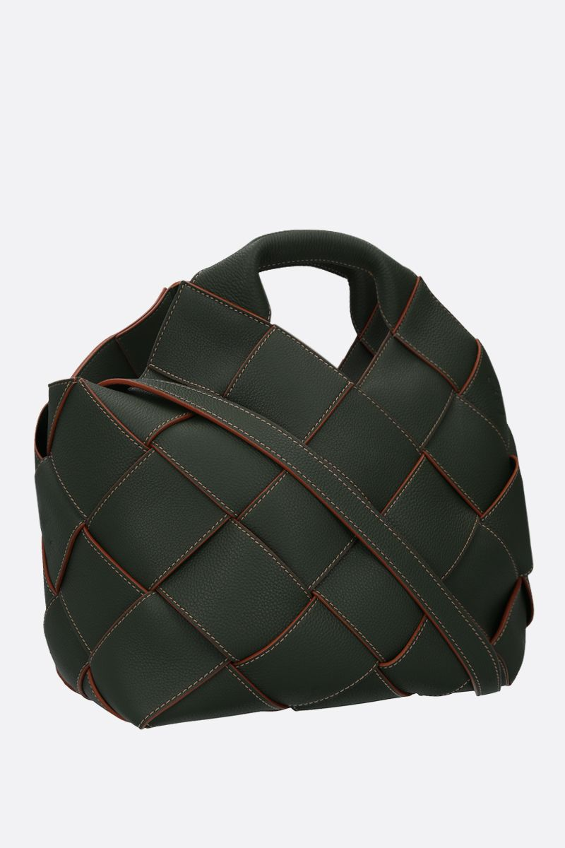 LOEWE: woven leather basket bag Color Green_2
