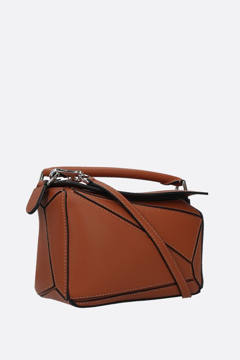 LOEWE: Puzzle mini soft grainy leather top handle bag Color Brown_2