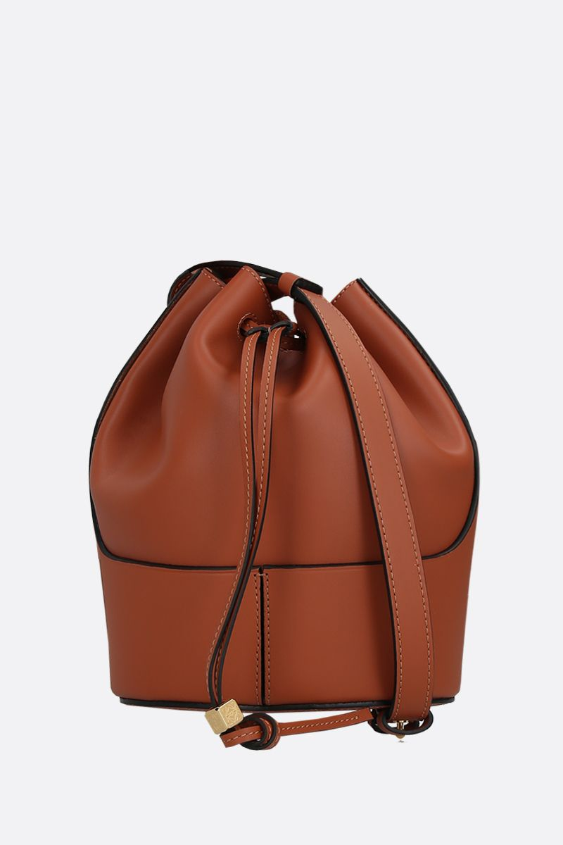 LOEWE: Balloon small smooth leather bucket bag Color Brown_1
