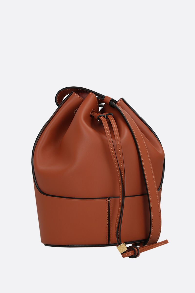 LOEWE: Balloon small smooth leather bucket bag Color Brown_2