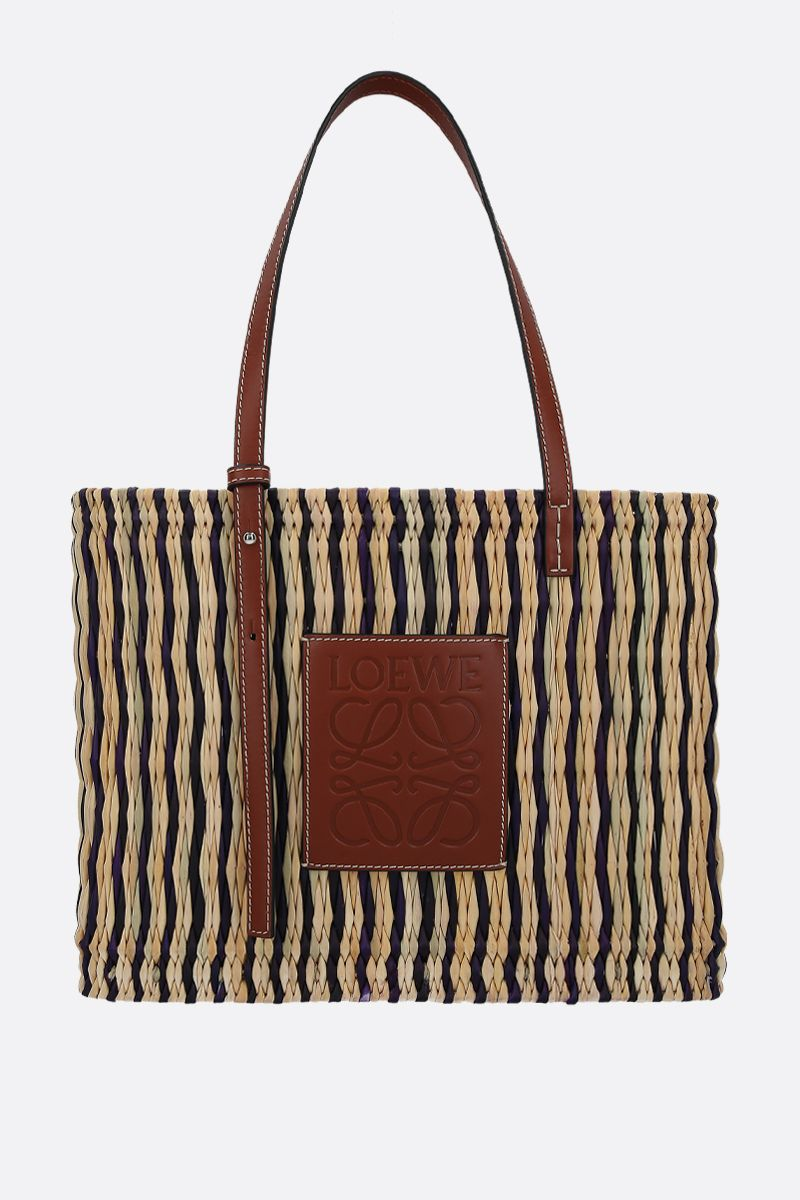 LOEWE: reed and smooth leather square basket bag_1
