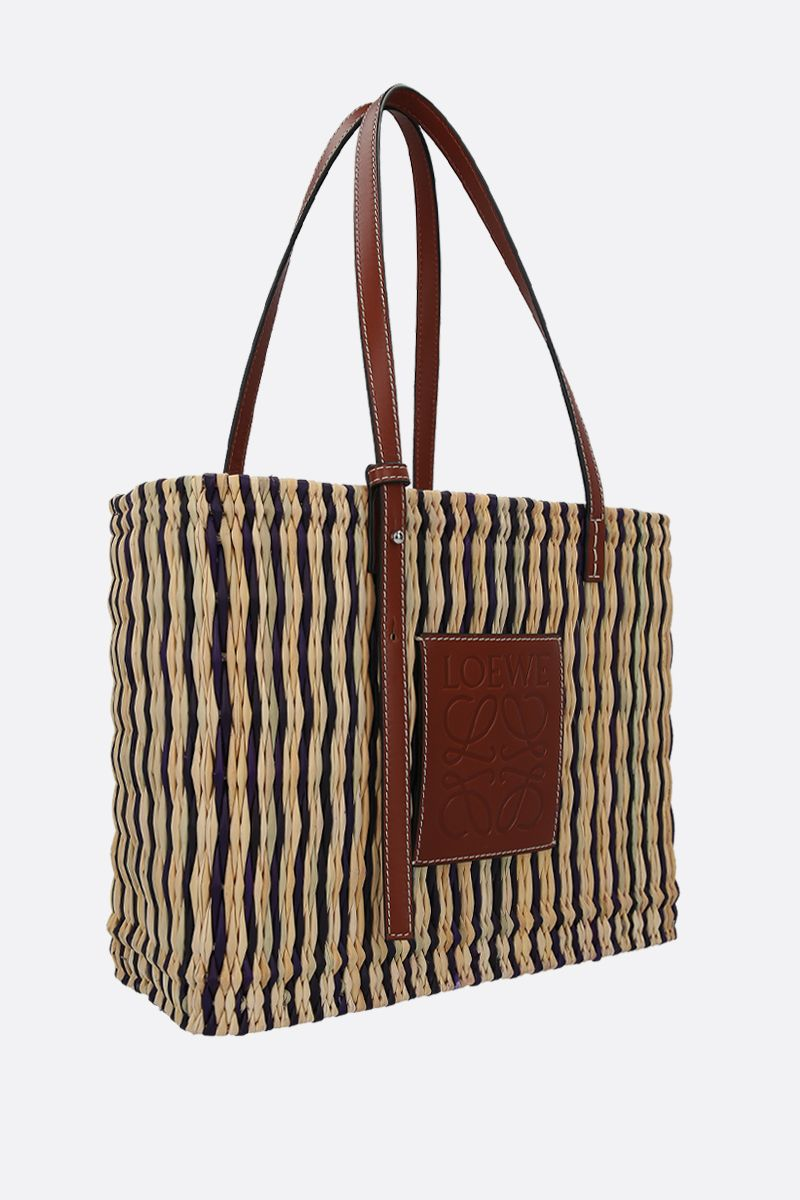 LOEWE: reed and smooth leather square basket bag_2