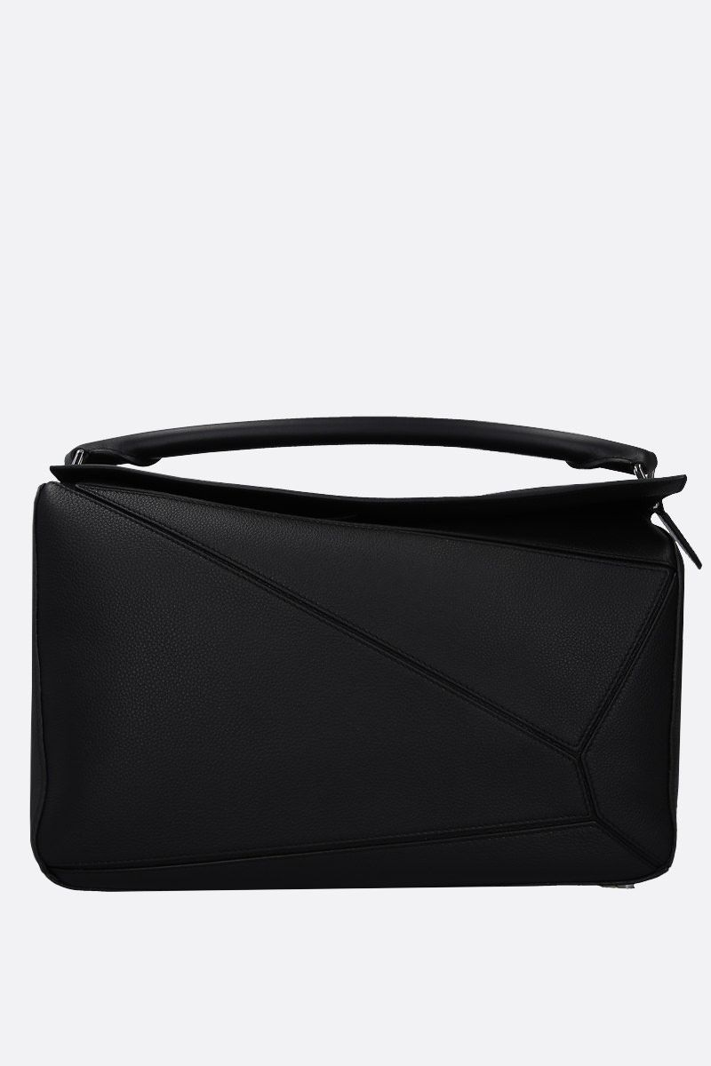 LOEWE: Puzzle large grainy leather top handle bag Color Black_1
