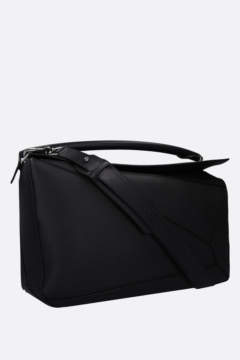 LOEWE: Puzzle large grainy leather top handle bag Color Black_2