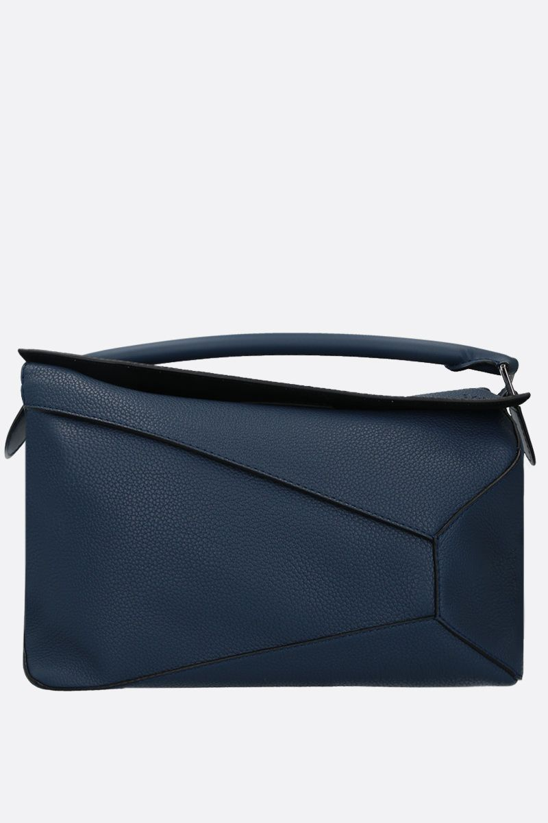 LOEWE: Anagram soft grainy leather top handle bag Color Blue_1