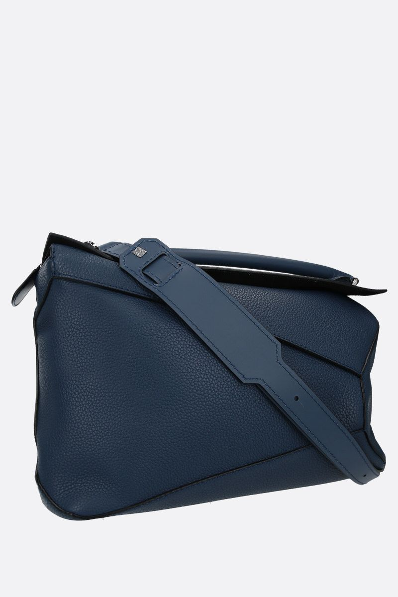 LOEWE: Puzzle large grainy leather top handle bag Color Blue_2