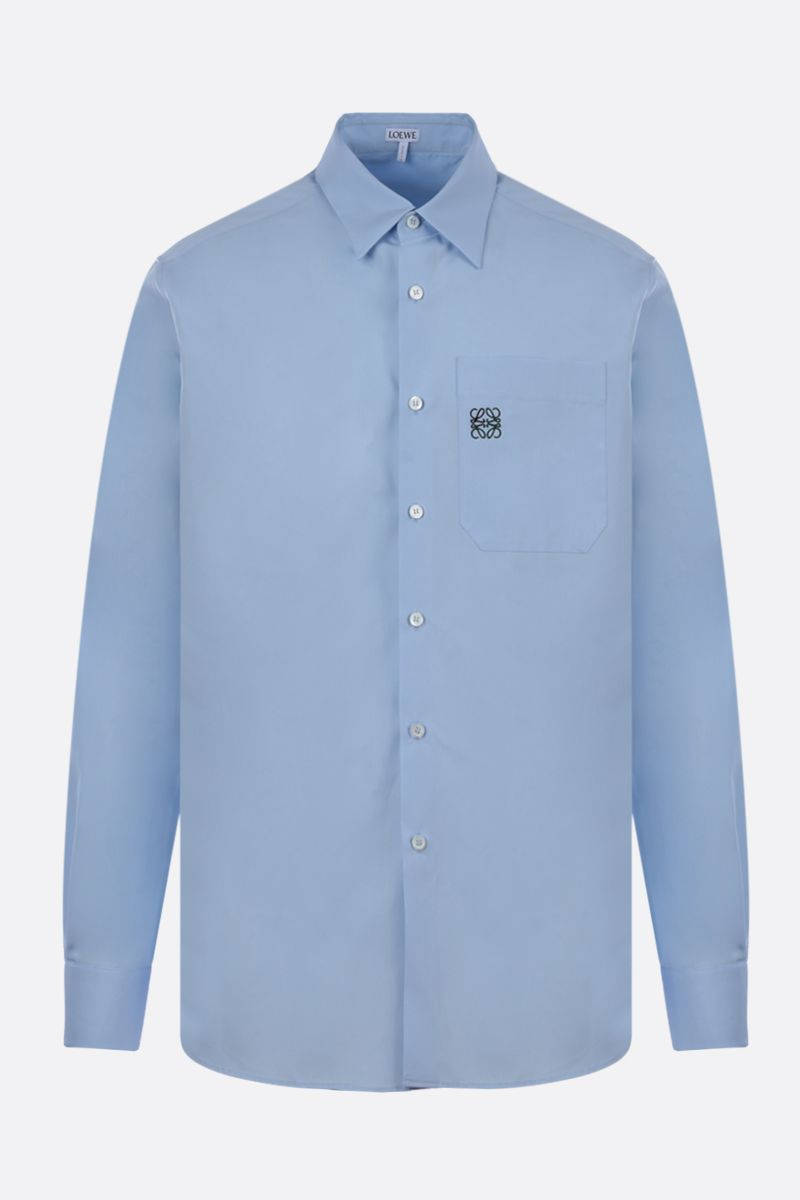 LOEWE: Anagram cotton poplin shirt Color Blue_1