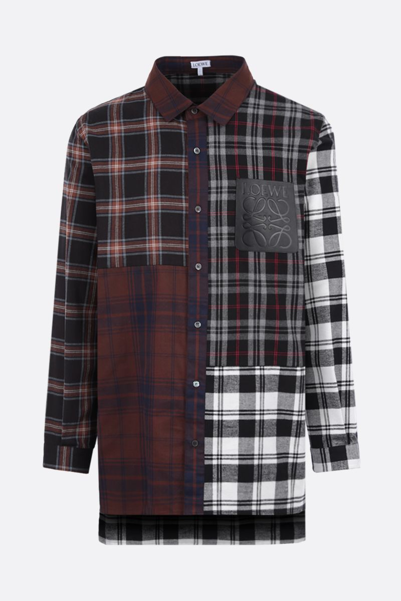 LOEWE: oversize check flannel shirt Color Brown_1