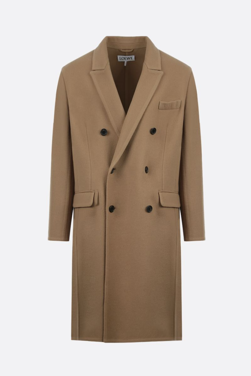 LOEWE: double-breasted wool cashmere blend coat Color Brown_1