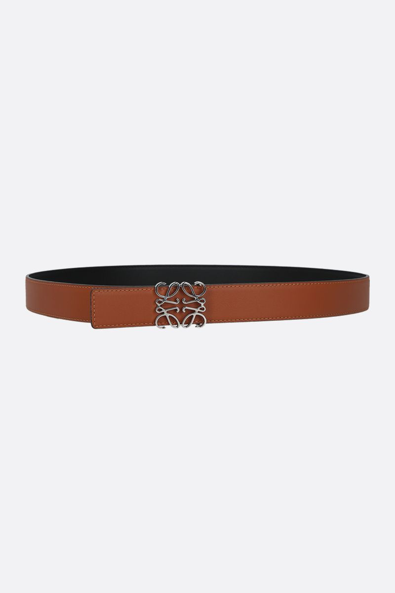 LOEWE: Anagram smooth leather reversible belt Color Black_2