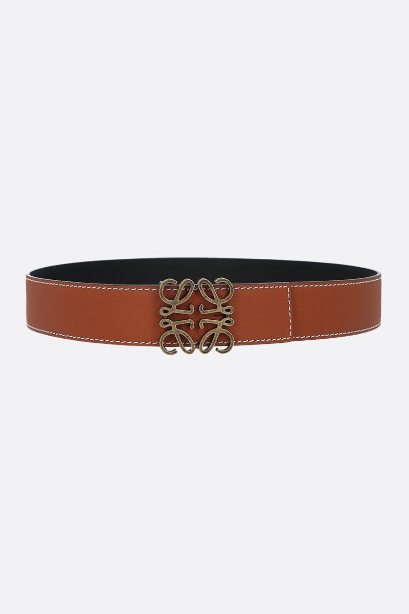 LOEWE: Anagram leather reversible belt Color Brown_1