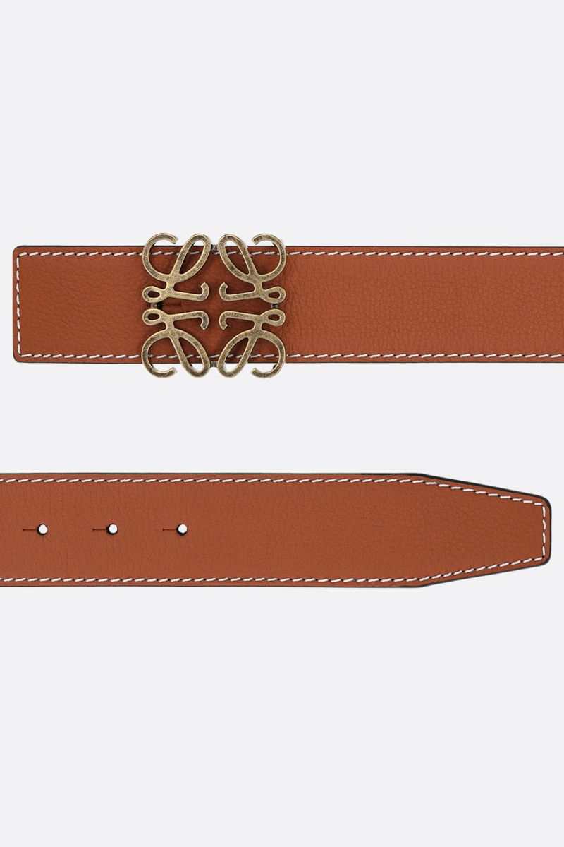 LOEWE: Anagram leather reversible belt Color Brown_2