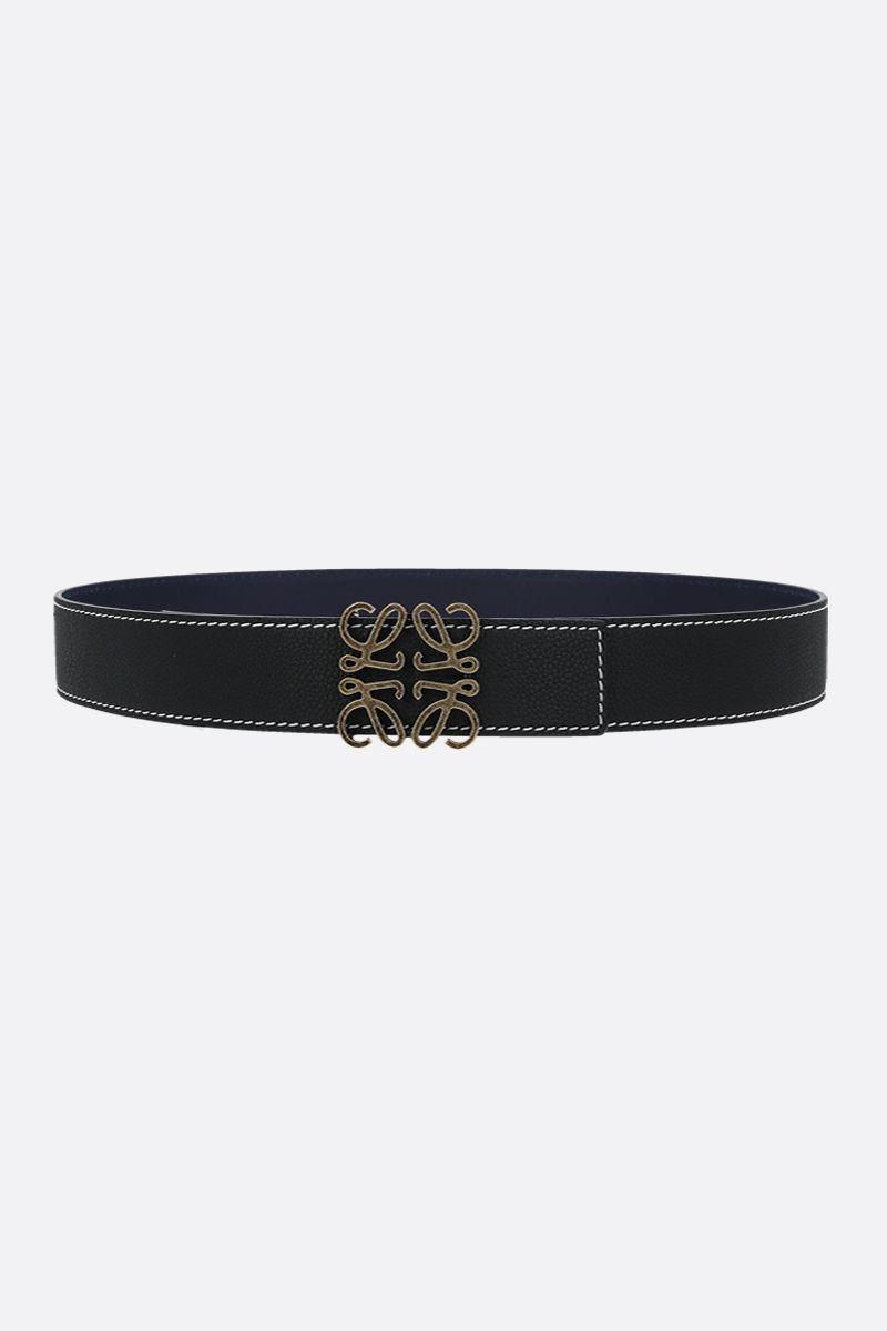 LOEWE: Anagram leather reversible belt Color Black_1