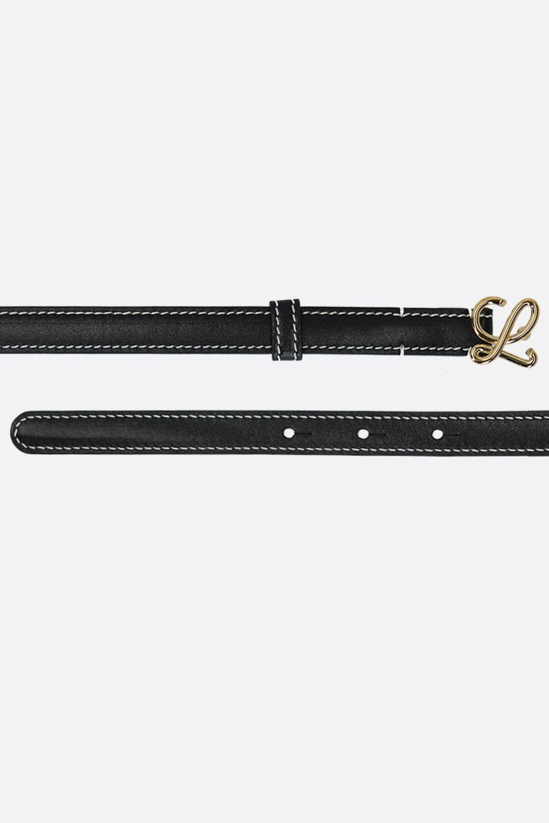 LOEWE: L buckle-detailed smooth leather thin belt Color Black_2