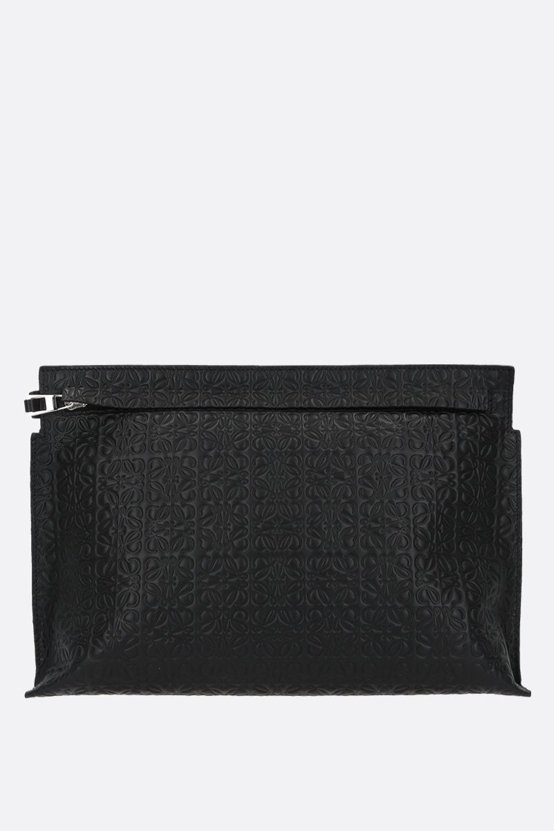 LOEWE: T embossed leather pouch Color Black_1