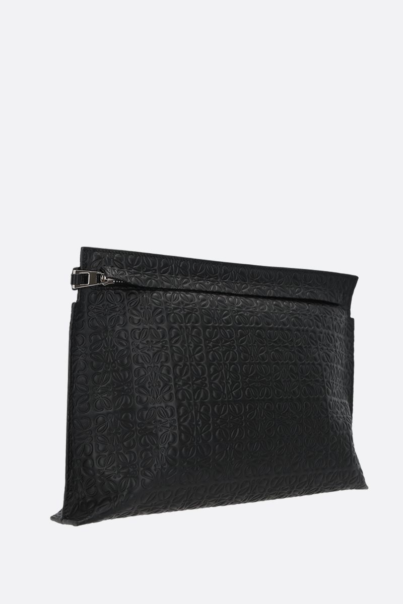 LOEWE: T embossed leather pouch Color Black_2