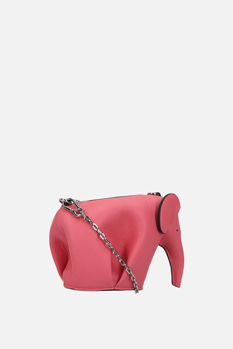 LOEWE: Elephant chain clutch in Classic leather Color Pink_2