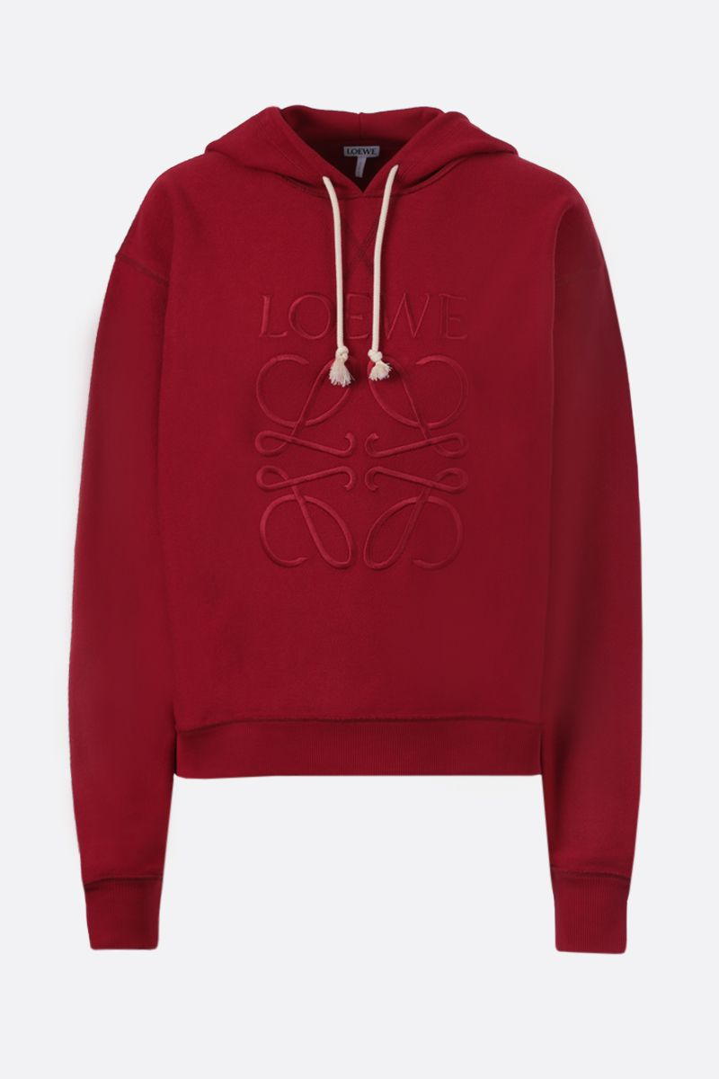 LOEWE: Loewe Anagram embroidered cotton hoodie Color Red_1