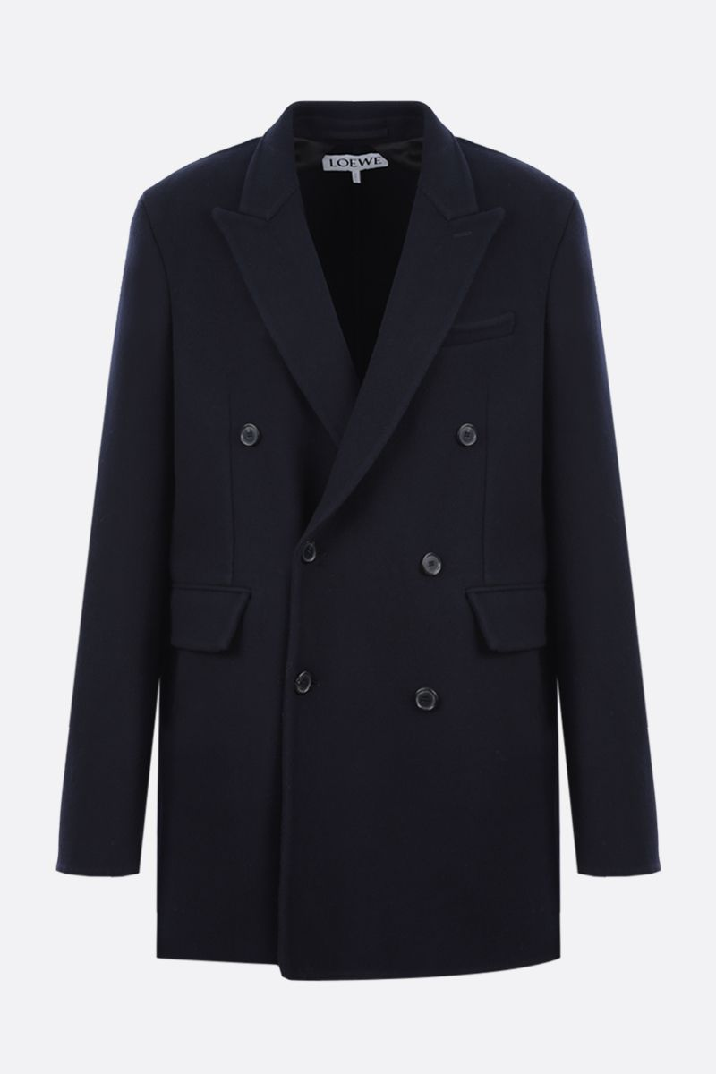 LOEWE: double-breasted wool cashmere blend coat Color Blue_1