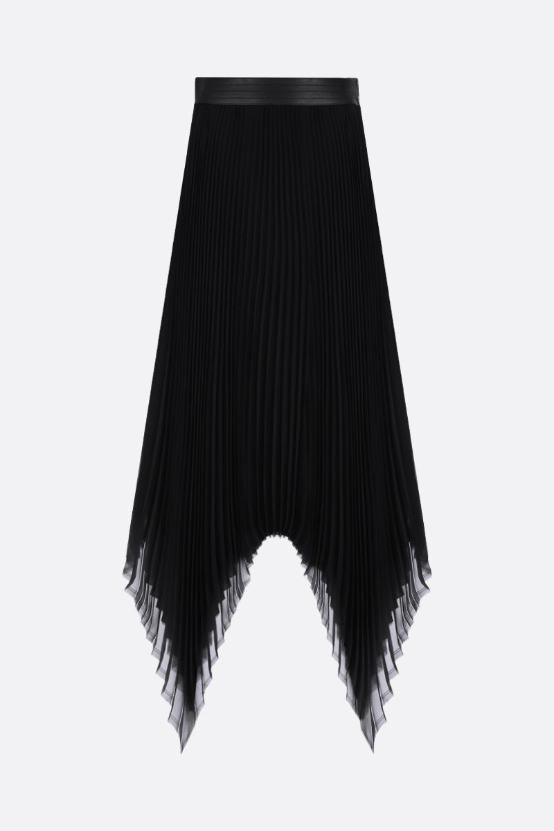 LOEWE: georgette asymmetric pleated skirt Color Black_1