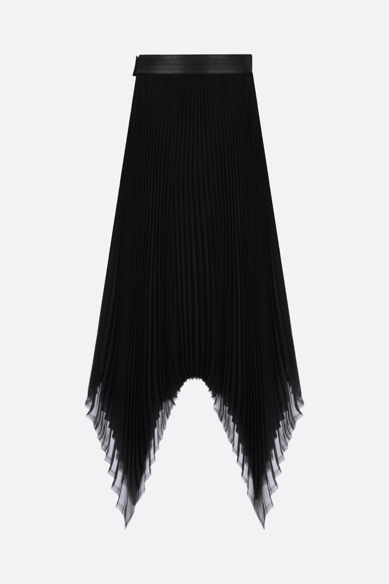 LOEWE: georgette asymmetric pleated skirt Color Black_2