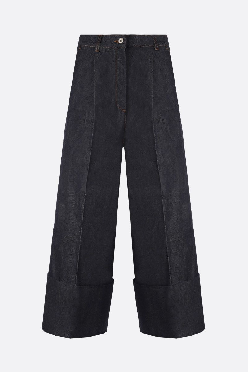 LOEWE: turn-up hem-detailed cropped jeans Color Blue_1
