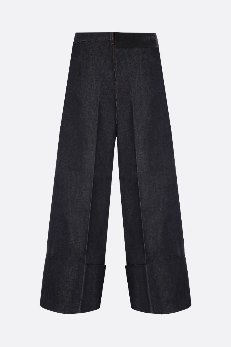 LOEWE: turn-up hem-detailed cropped jeans Color Blue_2