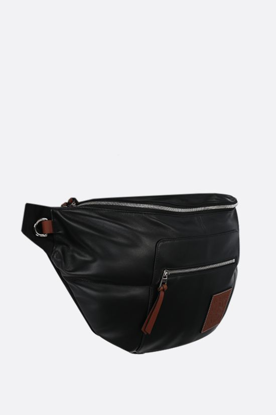 LOEWE: XL Puffy nappa and nylon belt bag Color Black_2