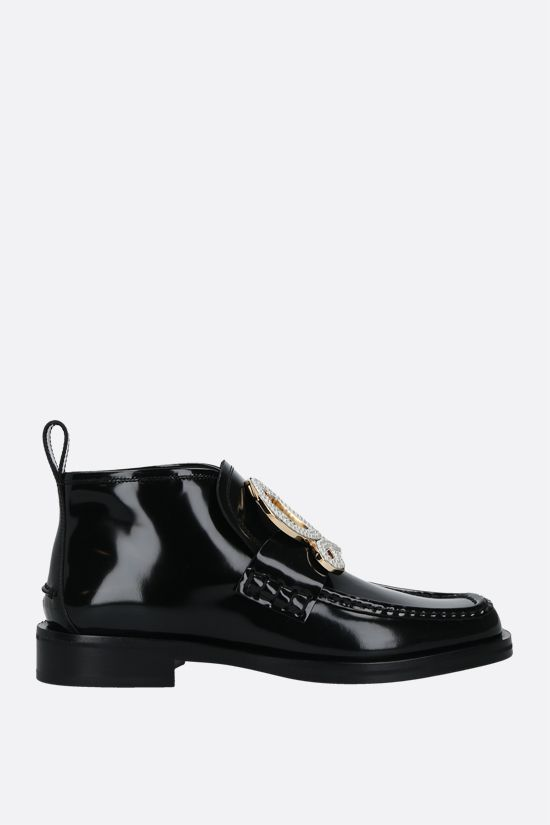 LOEWE: shiny leather high-top loafers Color Black_1