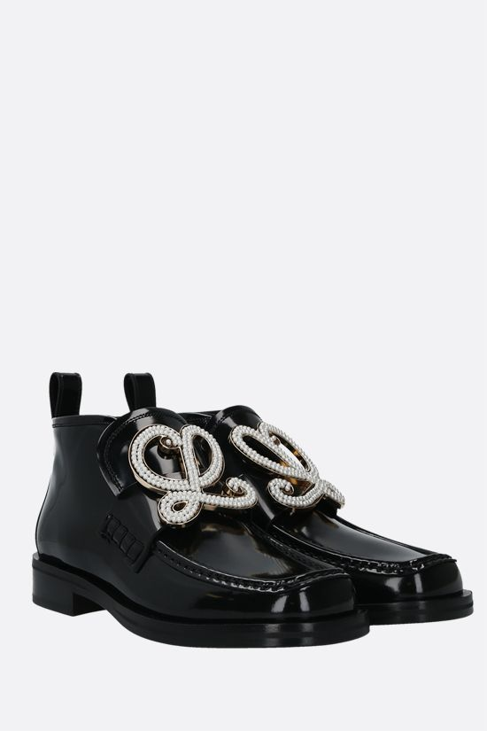 LOEWE: shiny leather high-top loafers Color Black_2