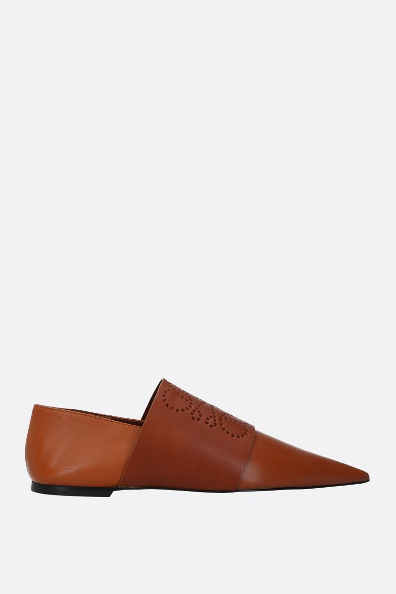 LOEWE: perforated Anagram smooth leather slipper Color Brown_1