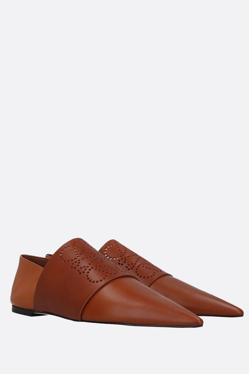 LOEWE: perforated Anagram smooth leather slipper Color Brown_2