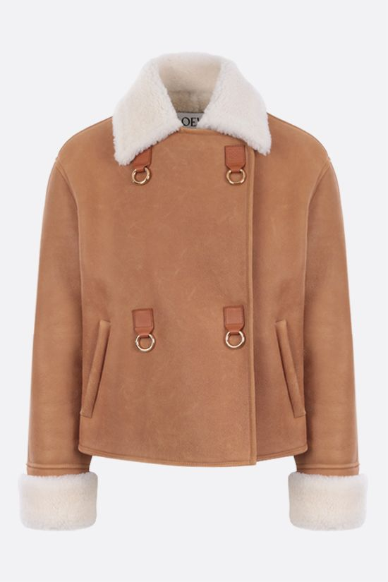 LOEWE: double-breasted shearling jacket Color Brown_1