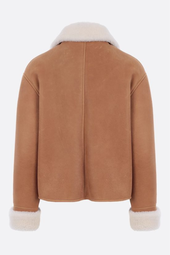 LOEWE: double-breasted shearling jacket Color Brown_2