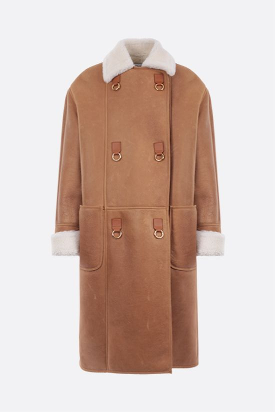 LOEWE: double-breasted shearling coat Color Brown_1