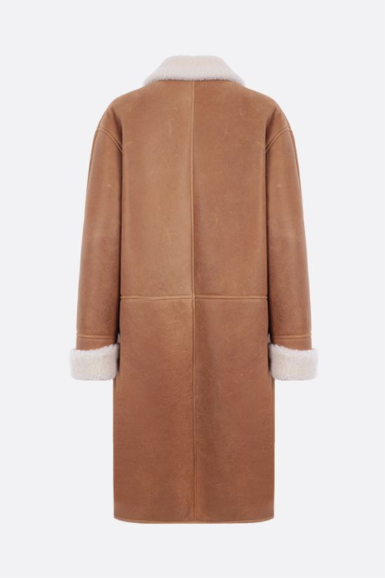 LOEWE: double-breasted shearling coat Color Brown_2