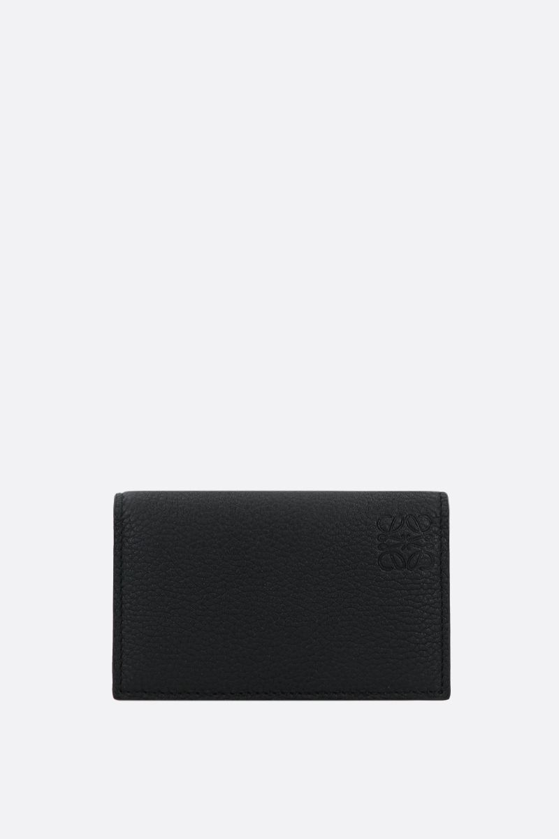 LOEWE: soft grainy leather flap card case Color Black_1
