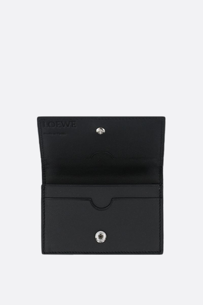 LOEWE: soft grainy leather flap card case Color Black_2